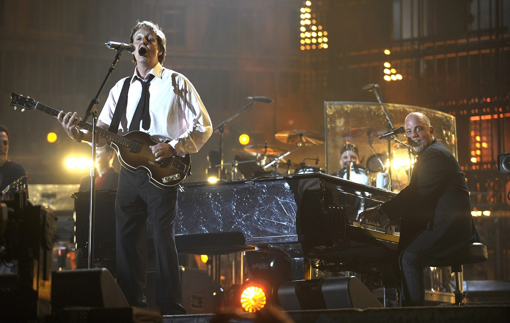 """*Exclusive* Billy Joel and Sir Paul McCartney perform during the """"Last Play at Shea"""" at Shea Stadium on July 16, 2008 in Queens, NY. ***Exclusive*** (Photo by L. Busacca/WireImage)"""